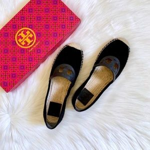 Tory Burch Black Suede Sidney Espadrille Flats